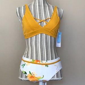 Cupshe 2 piece mustard yellow & white bikini set